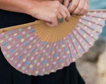 HAND HELD FAN, polka dot, retro print, summer, folding fan, eco friendly, wood, cotton fabric, eventail, abanico, pastel, Free Shipping