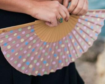 HAND HELD FAN   50s style polka dot print   pastel colors designer hand fan   retro   summer accessories   Free Shipping Worldwide