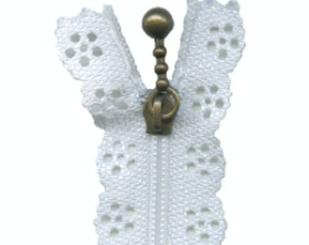 WHITE LACE ZIP - 35 cm length - for Wedding Dresses or That Special White Outfit - Dressmaking, Sewing
