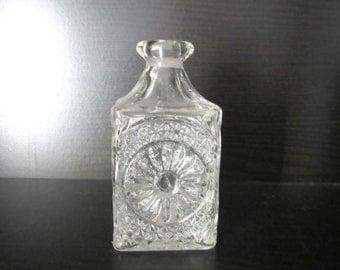 Rare German Hofbauer Pressed Glass Cologne Bottle Signature Etched Bird Logo - Missing Stopper