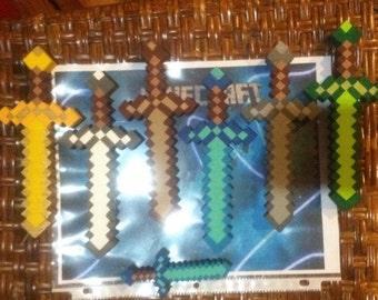 7 Gamer inspired Mine Craft style pixel wood swords diamond gold wood emerald iron stone swords