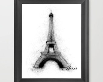 Eiffel Tower, Paris INSTANT DOWNLOAD, French, places to go, traveling, desk decoration, Christmas gift artwork, birthday, present - Print