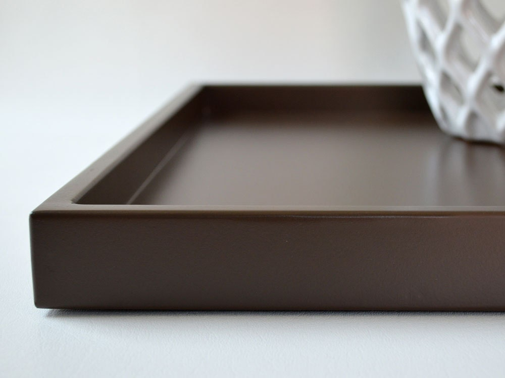 Brown 14 x 18 shallow decorative tray lacquered wood serving for Shallow coffee table