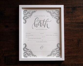 Birth Certificate, 11x14 Letterpress Print, art print, blank birth certificate, baby shower gift, baby gift nursery decor Printable Wisdom