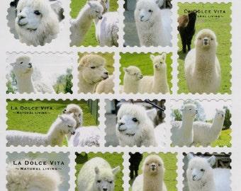 Japanese Mind Wave Kawaii stamp style ALPACA sticker sheet/La Dolce Vita 10898