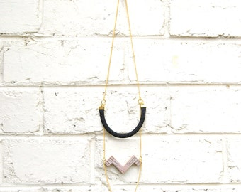 Black Rope and Recycled Wood Necklace