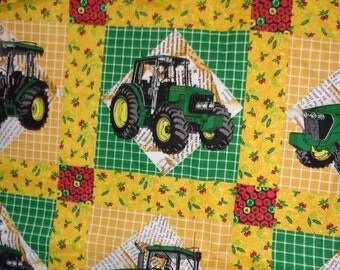 18 Inches John Deere Yellow/Green/Red Blocked Cotton Fabric