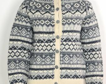 ON SALE Norwegian Wool: Norway Wool Sweater Norwegian Fair Isle Sweater Handmade In Norway Traditional Vintage Norwegian Wool Cardigan Jumpe