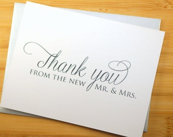 Set of 50 - Thank you from the new Mr. & Mrs. / Wedding Thank you Card / Shimmer Cardstock