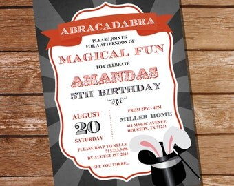 Magic Party Invitation - Magician Party Invitation - Instant Download and Edit File at home with Adobe Reader