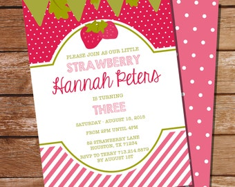 Strawberry Party Invitation for a Girl - Strawberry Shortcake - Instant Download and Edit File at home with Adobe Reader