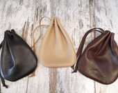 Leather Drawstring Pouch, Drawstring Bag, Medicine Pouch, Leather Pouch, Coin Pouch, Jewelry Pouch, Italian Nappa Leather