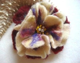Felted Flower Brooch Pin,Wool Felt, Felted Wool, Felt Brooch, Flower Brooch, Pin, Felt Flower Pin, Beaded Flower