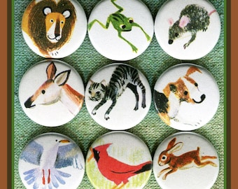 """9 storybook simple Animals 1"""" inch buttons, medallions or magnets SET E"""