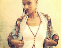 Golden Lioness Wooden Beaded Body Chain, Strand Statement piece, tarnish free, no tarnish, Rasta Boho Jewelry Accessory