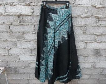 Mid Century Embroidered Skirt Greece Blue Black Ethnic Tribal Folk Art sz fits Small 50s 60s Circular Rare Item