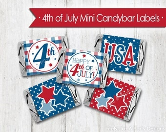 4th of July Mini Candy Bar Wrappers - Instant Download