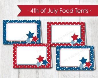 4th of July Food Cards - Instant Download