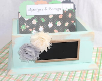 RECIPE BOX, Dividers and Cards, Mint, Peach, Charcoal Gray, Chalkbaord, Distressed Mint Rustic Box