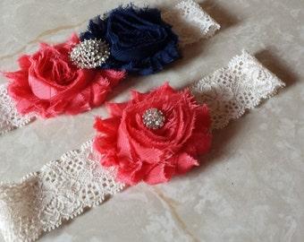 Coral / Navy Wedding Garter -  Bridal Garter Set - Ivory Stretch Lace -  Rhinestone embellishment.  .