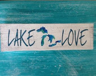 "Michigan Lake Love, Wood Sign 12""x3.5"""