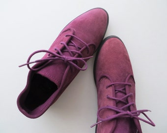 90s Purple Leather Keds Ankle Boots Short Lace Up Booties Women Size 5 1/2 or 36