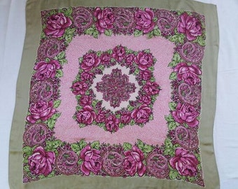 Vintage Floral scarf / large floral satin scarf / large pink roses / floral table scarf / green, purple and pink scarf