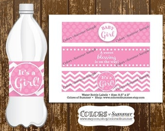Pink Baby Shower Water Bottle Labels, It's a Girl, Baby Girl, A sweet blessing is on the way, Polka Dots, Chevron - Instant Download