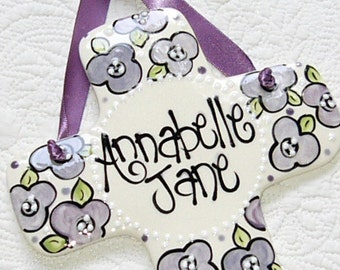 Personalized Decorative Cross for Girls with Purple Flowers
