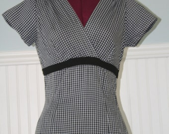 Summer Picnic 50s Gingham Checkered Wiggle dress by Pat Hartly Original
