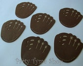 6 Baseball Gloves (3 size options) Mitts Sport Theme Decorations, Diecut Cutouts, for Birthday Party, Diaper Cake, Baby Shower, Brown