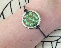 The Celiac Disease Awareness Leather Cord Bracelet: The Life Collection/Sterling Silver/green Swarovski/ beads/beaded wrap Cause/gluten