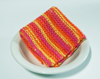 Large Hand Knitted Cotton Washcloth/ Dishcloth/ Dust Cloth, multi-colored, colorful washcloth, Housewarming Gift, Make Custom Set, Baby Gift