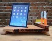 Unique Gift Wooden organizer iPad 4 stand Desk Organizer Card Holder iPad Air stand Tablet holder Wooden Unique Tablet iPad Solid Wood