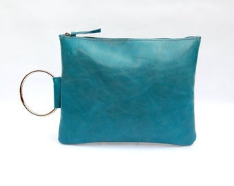 Turquoise leather clutch - Summer Leather wristlet clutch - Women handbag - Small Leather Purse - Metal ring in Nickel color - Zipper Pouch