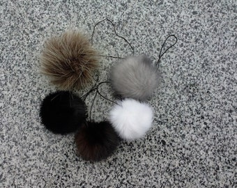 Faux fur mink balls keychain, cute fit)