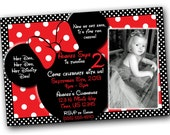 SALE Minnie Mouse Invitations with FREE Thank you cards, Minnie Mouse Birthday, Red Minnie Mouse invitations, Minnie Mouse party