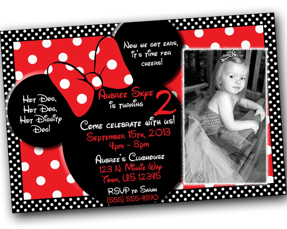 SALE Minnie Mouse Invitations Minnie Mouse Birthday Red