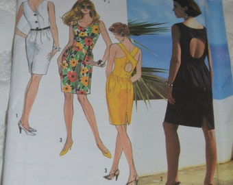 Simplicity 7321 Misses Dress with Back Variations Sewing Pattern - UNCUT - sizes 8 - 14