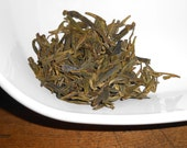 Organic DRAGONWELL Tea - LONGJING Tea - Pan-Fired GREEN Tea - Round, Roasted Flavor - One Ounce -yields 20-24 Cups