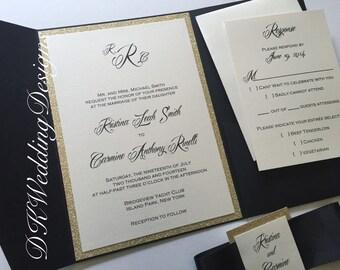 Pocketfold Invitation, Glitter Pocketfold, Wedding Invitation, Wedding Invite, Glitter Pocketfold Invitation, KRISTINA