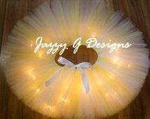 Light Yellow & White LED Light Up Rave Tutu-Yellow Rave Tutu-Adult Tutu-Daisy Rave Tutu