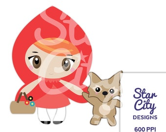 Little Red Riding Hood Clipart, Red Riding Hood clip art, Riding Hood clipart, Wolf clipart, clip art, vector art, Fairy tale clipart