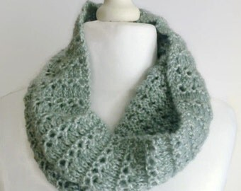 Green infinity scarf, knitted cowl neck scarf, circle scarf, green round scarf, UK shop.