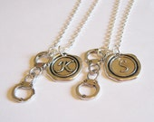 2 Partners In Crime Handcuff Wax Seal Initial Necklaces BFF SISTERS COUPLES