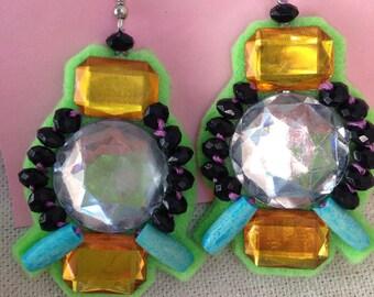 Abstract Lime Felt Dangle Earrings