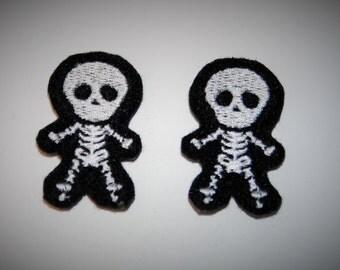 Set of 2 Skeleton X-Ray Feltie Felt Embellishments