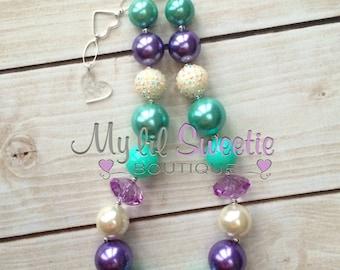 Stunning Lavender purple, mint, ivory chunky necklace, girls jewelry, wedding jewelry, children's necklace, bubblegum jewelry