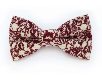 Holly print burgundy red and white corduroy clip on bow tie – adult size