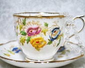 ROYAL ALBERT Vintage China Tea Cup and Saucer, Hand Painted Floral Pattern, Vintage Wedding,  Tea Party